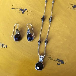 Silpada Smoky Quartz Silver Earrings/Necklace Set